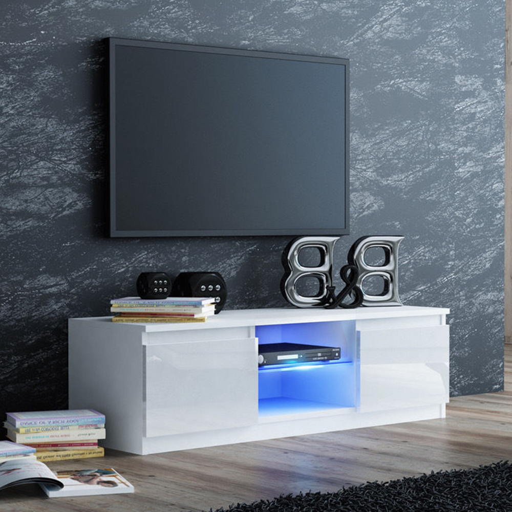White High Gloss Tv Stand Console Unit Cabinet With Led Throughout Milano White Tv Stands With Led Lights (View 8 of 20)