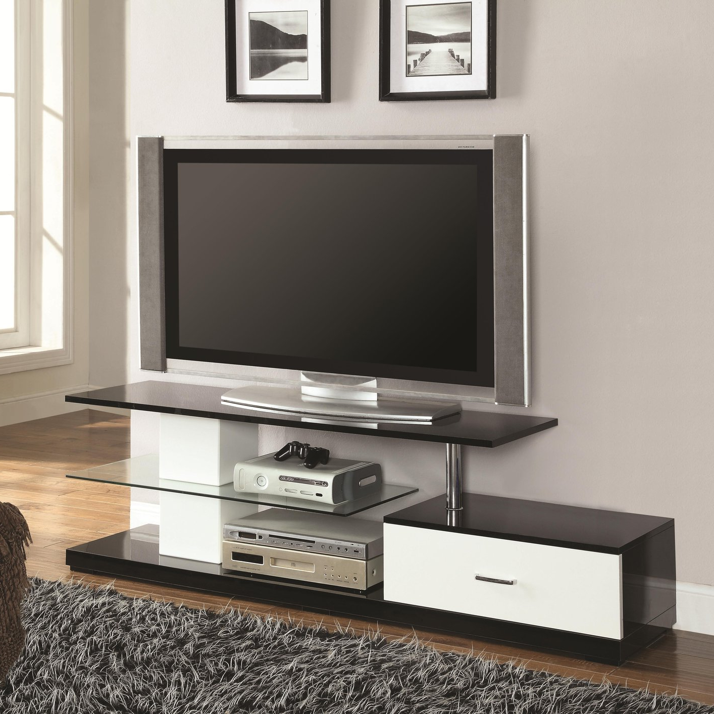 White Metal Tv Stand – Steal A Sofa Furniture Outlet Los Pertaining To Tabletop Tv Stands Base With Black Metal Tv Mount (View 5 of 20)