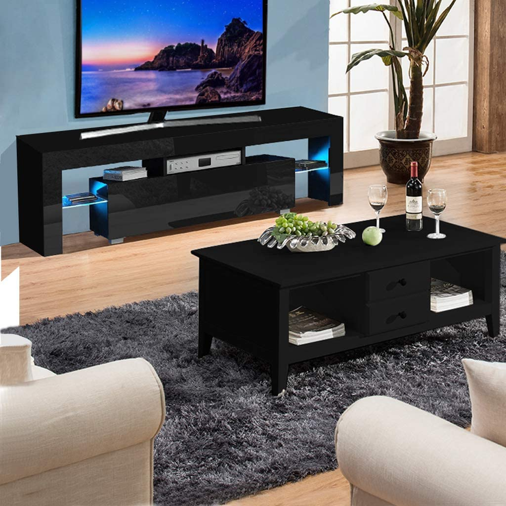 White Modern Tv Stand Matt Cabinet Unit 130cm Width High With Regard To Tv Stands Cabinet Media Console Shelves 2 Drawers With Led Light (View 3 of 20)