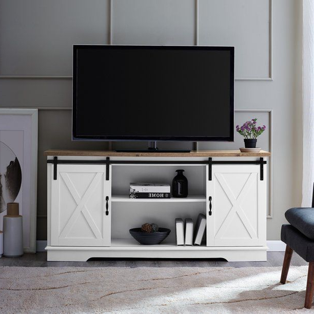 """White Rustic Oak Barn Door Tv Stand For Tvs Up To 64"""" Intended For Woven Paths Franklin Grooved Two Door Tv Stands (View 4 of 20)"""