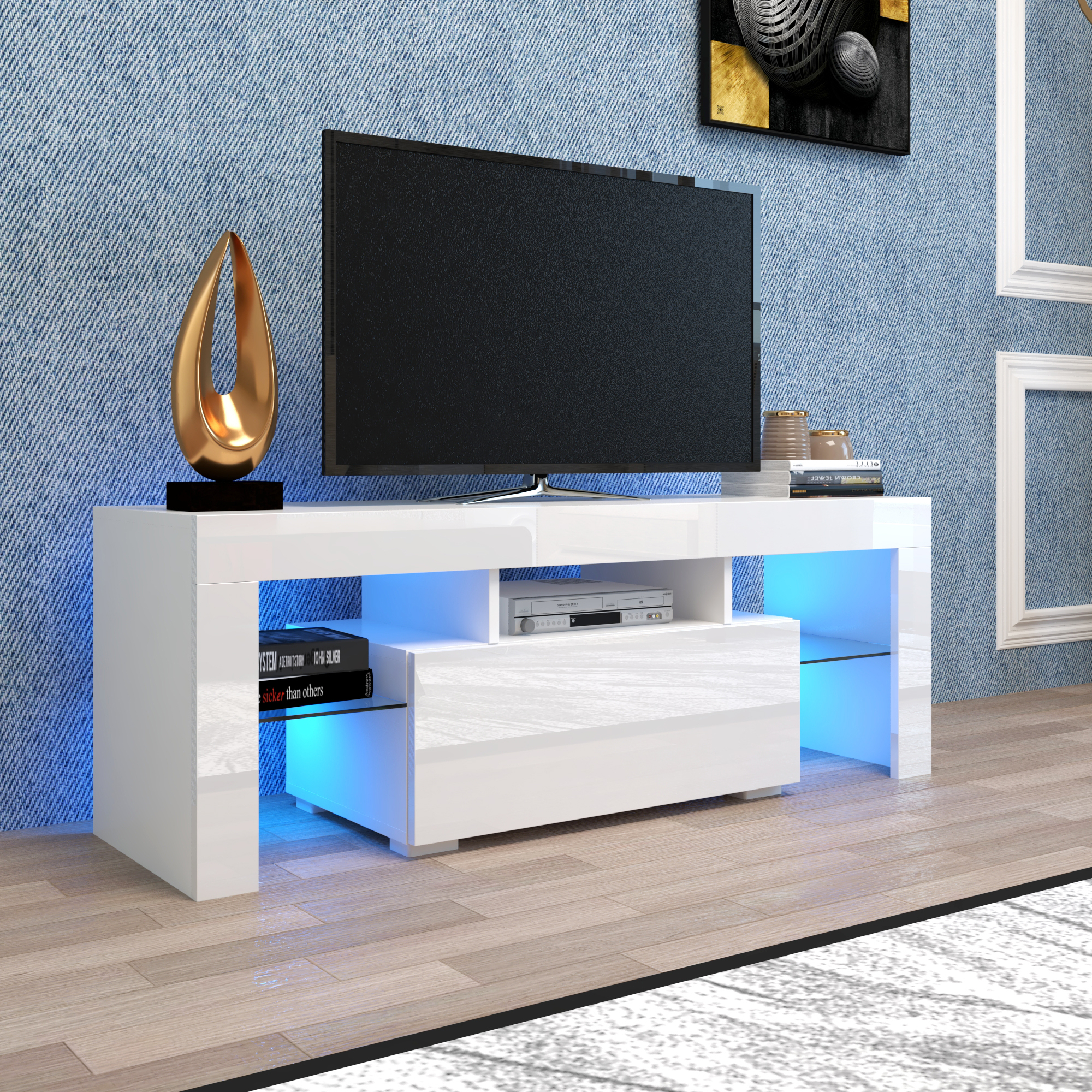 White Tv Stand With Led Lights, Corner Tv Stand With In Manhattan 2 Drawer Media Tv Stands (View 1 of 20)