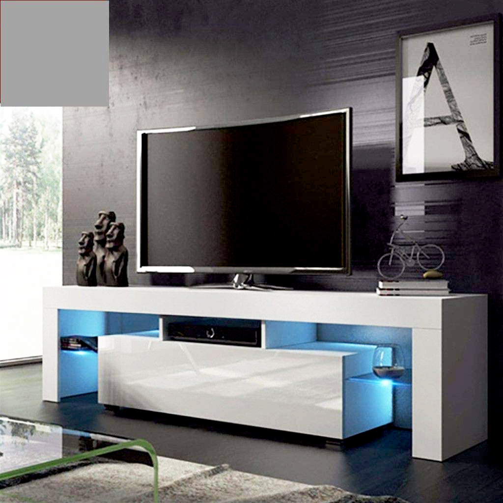 White Tv Stand With Led Lights, Corner Tv Stand With Intended For Horizontal Or Vertical Storage Shelf Tv Stands (View 3 of 20)
