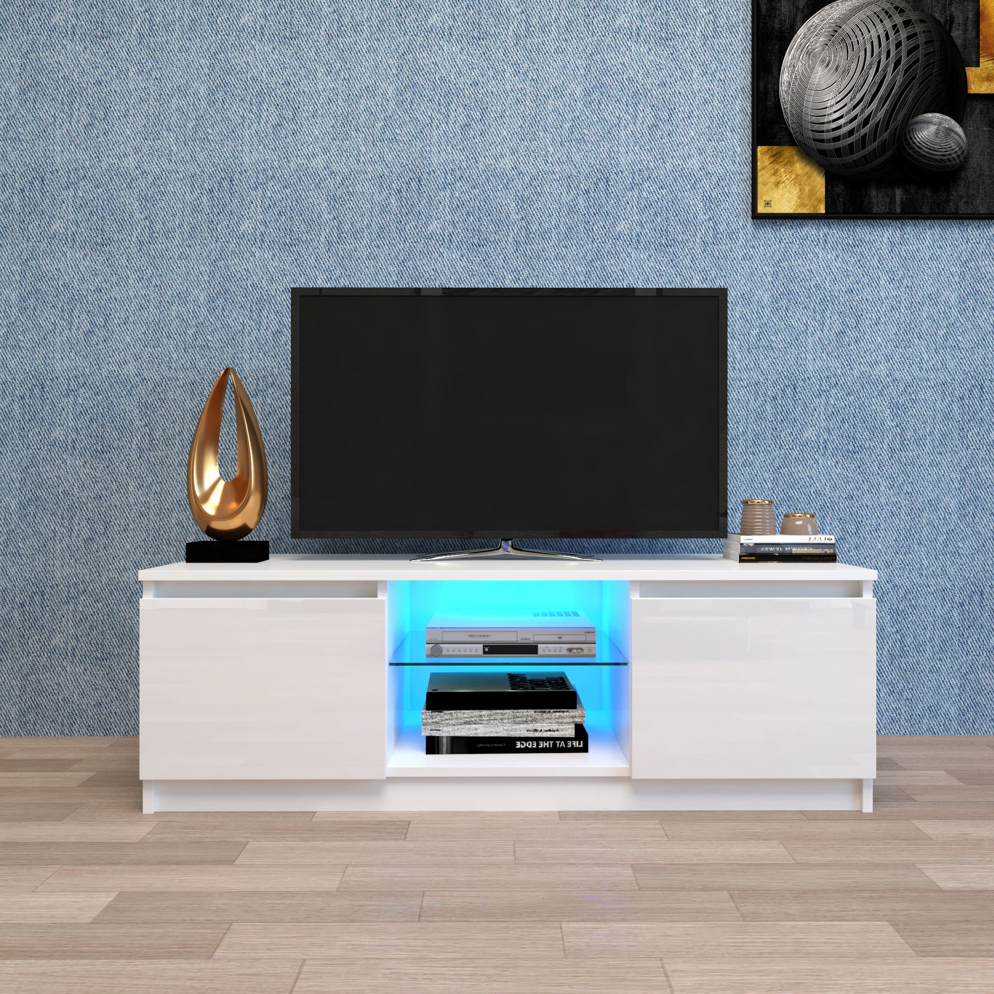 White Tv Stand With Led Lights, Corner Tv Stand With Regarding Scandi 2 Drawer White Tv Media Unit Stands (View 16 of 20)