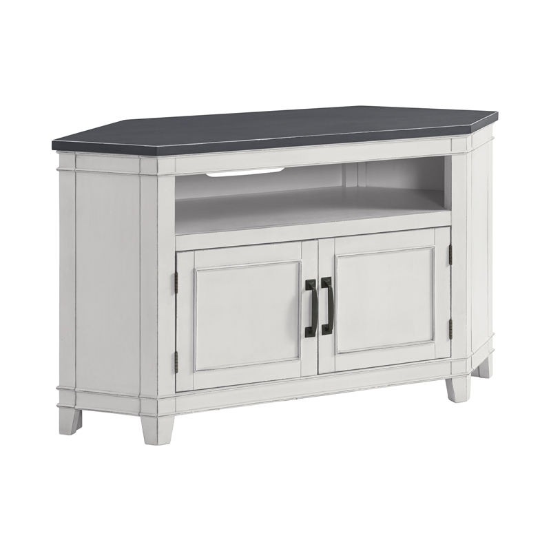 """White Tv Stands, Looking For White Tv Stands?   Cymax Throughout Del Mar 50"""" Corner Tv Stands White And Gray (View 7 of 20)"""