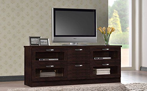 Wholesale Interiors Baxton Studio Adelino Wood Tv Cabinet Throughout Dark Brown Tv Cabinets With 2 Sliding Doors And Drawer (View 5 of 20)