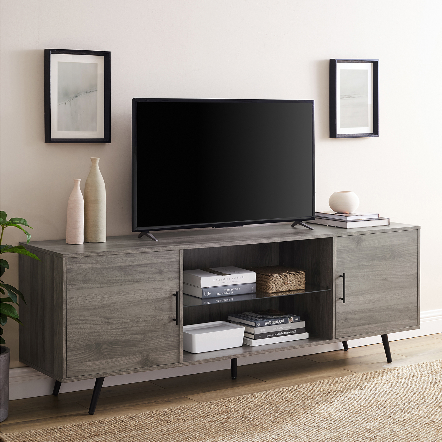 Wide Tv Stand With Glass Shelf – Pier1 Throughout Indi Wide Tv Stands (View 8 of 20)