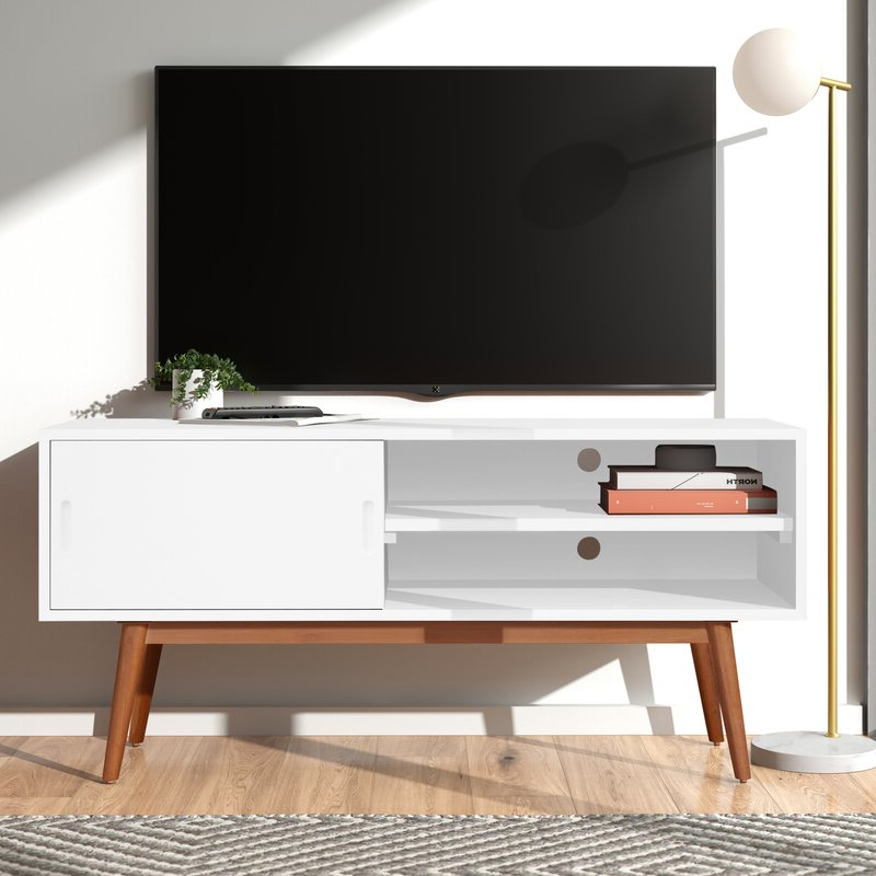 Wilbur Solid Wood Tv Stand For Tvs Up To 50 Inches In Modern Black Floor Glass Tv Stands For Tvs Up To 70 Inch (View 7 of 20)