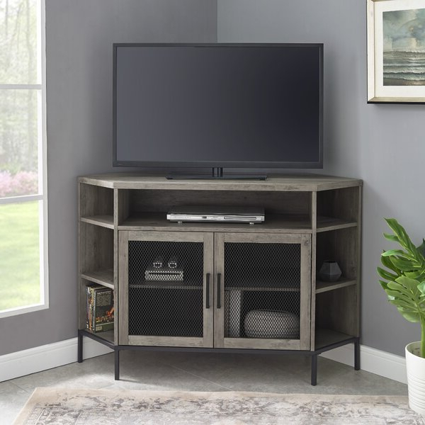 """Williston Forge Nadell Corner Tv Stand For Tvs Up To 48 Intended For Lionel Corner Tv Stands For Tvs Up To 48"""" (View 15 of 20)"""