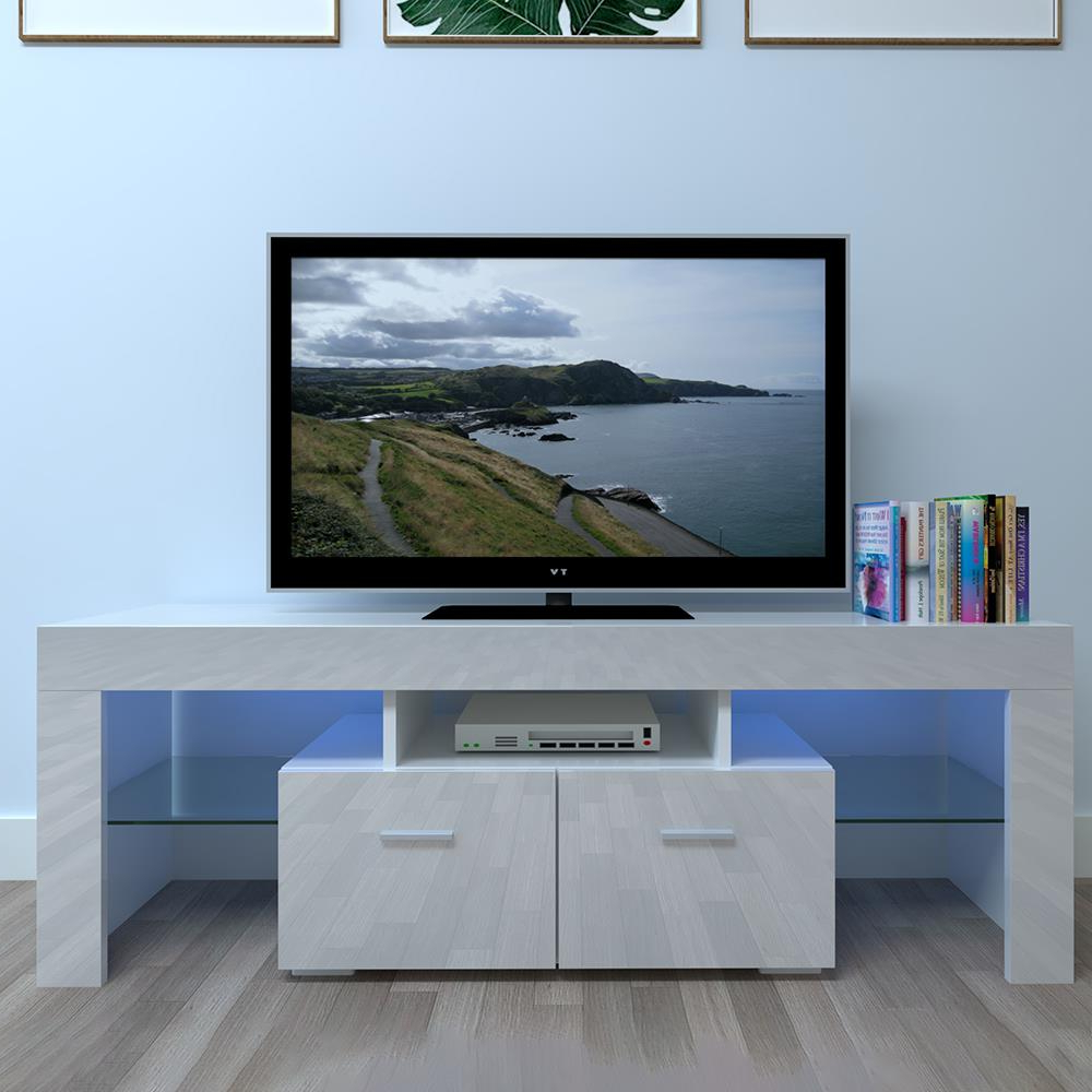 Winado Tv Stand With Led Lights High Gloss Media Console With Zimtown Tv Stands With High Gloss Led Lights (View 2 of 20)