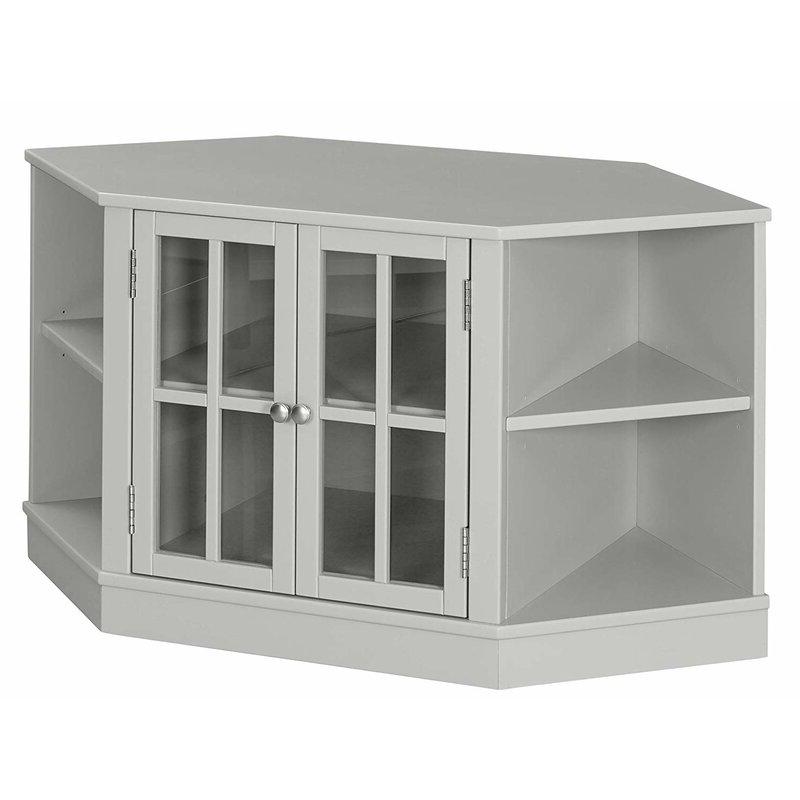 "Winston Porter Maclaren Solid Wood Corner Tv Stand For Tvs Inside Rustic Corner 50"" Solid Wood Tv Stands Gray (View 10 of 20)"