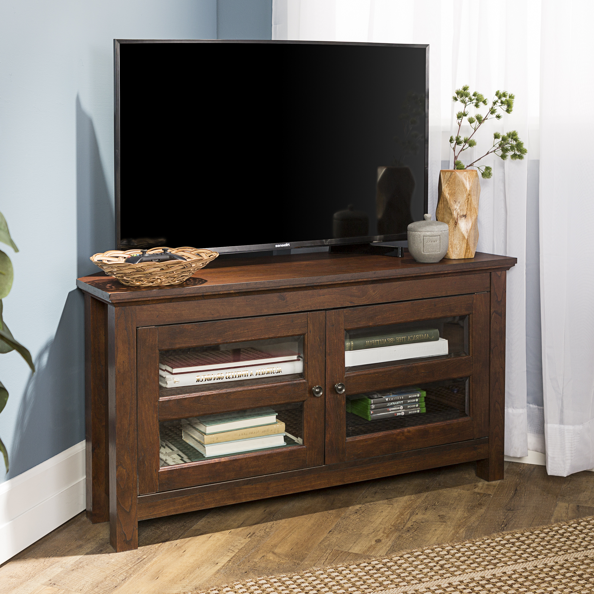 Wood Corner Media Storage Console Tv Stand For Tvs Up To For Tv Stands With Led Lights In Multiple Finishes (View 12 of 20)