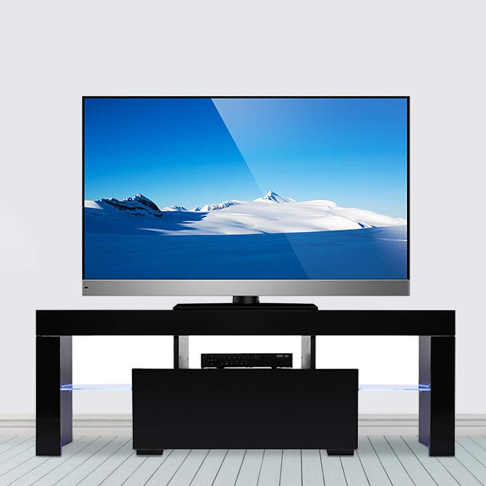 Wood Television Stand Modern Tv Stand Cabinet With Led Throughout 57'' Led Tv Stands Cabinet (View 2 of 20)