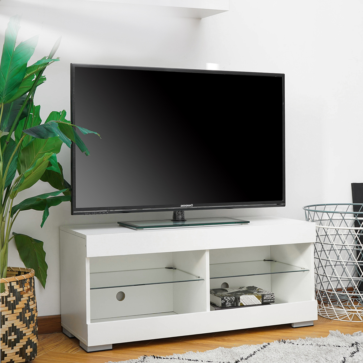 Wood Television Stand Modern Tv Stand Cabinet With Led With Glass Shelves Tv Stands (View 2 of 20)