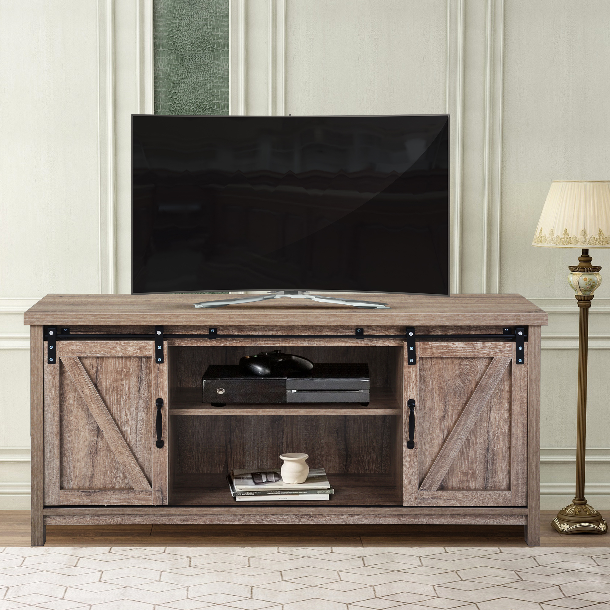 Wood Tv Stand, Modern Corner Tv Table Stands, Rustic Style Within Modern 2 Glass Door Corner Tv Stands (View 4 of 20)
