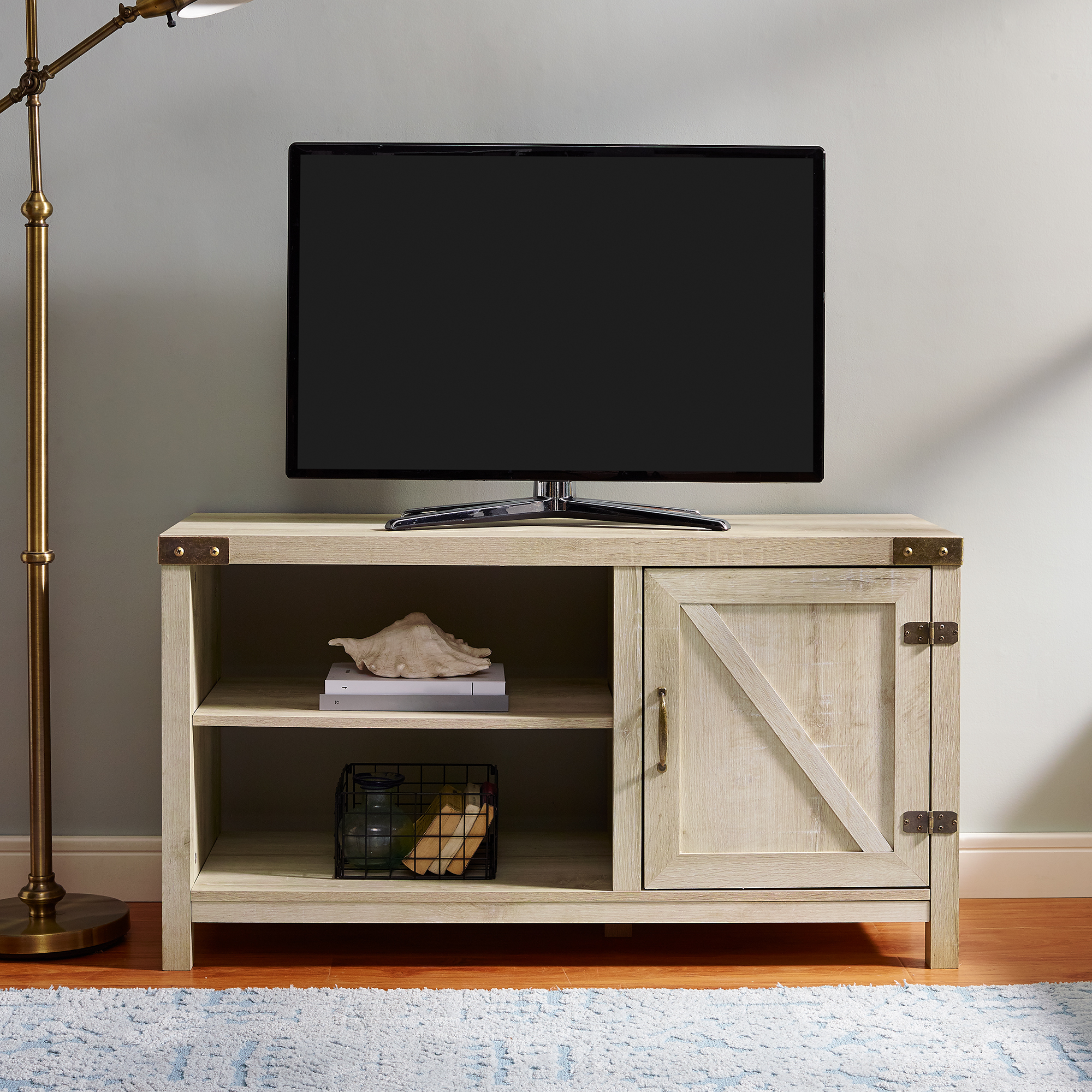 """Woven Paths Farmhouse Barn Door Tv Stand For Tvs Up To 50 For Leonid Tv Stands For Tvs Up To 50"""" (View 1 of 20)"""