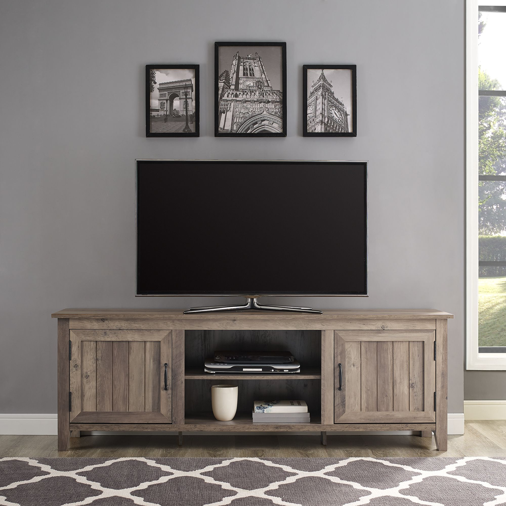 Woven Paths Farmhouse Grooved Door Tv Stand For Tvs Up To Regarding Woven Paths Farmhouse Barn Door Tv Stands In Multiple Finishes (View 4 of 20)