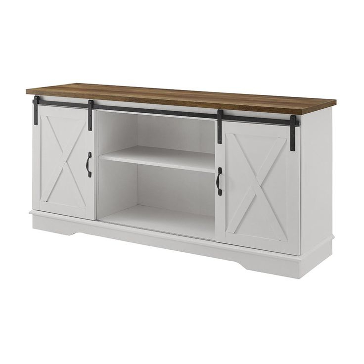 Woven Paths Farmhouse Sliding Barn Door Tv Stand For Tvs Regarding Woven Paths Farmhouse Barn Door Tv Stands In Multiple Finishes (View 3 of 20)