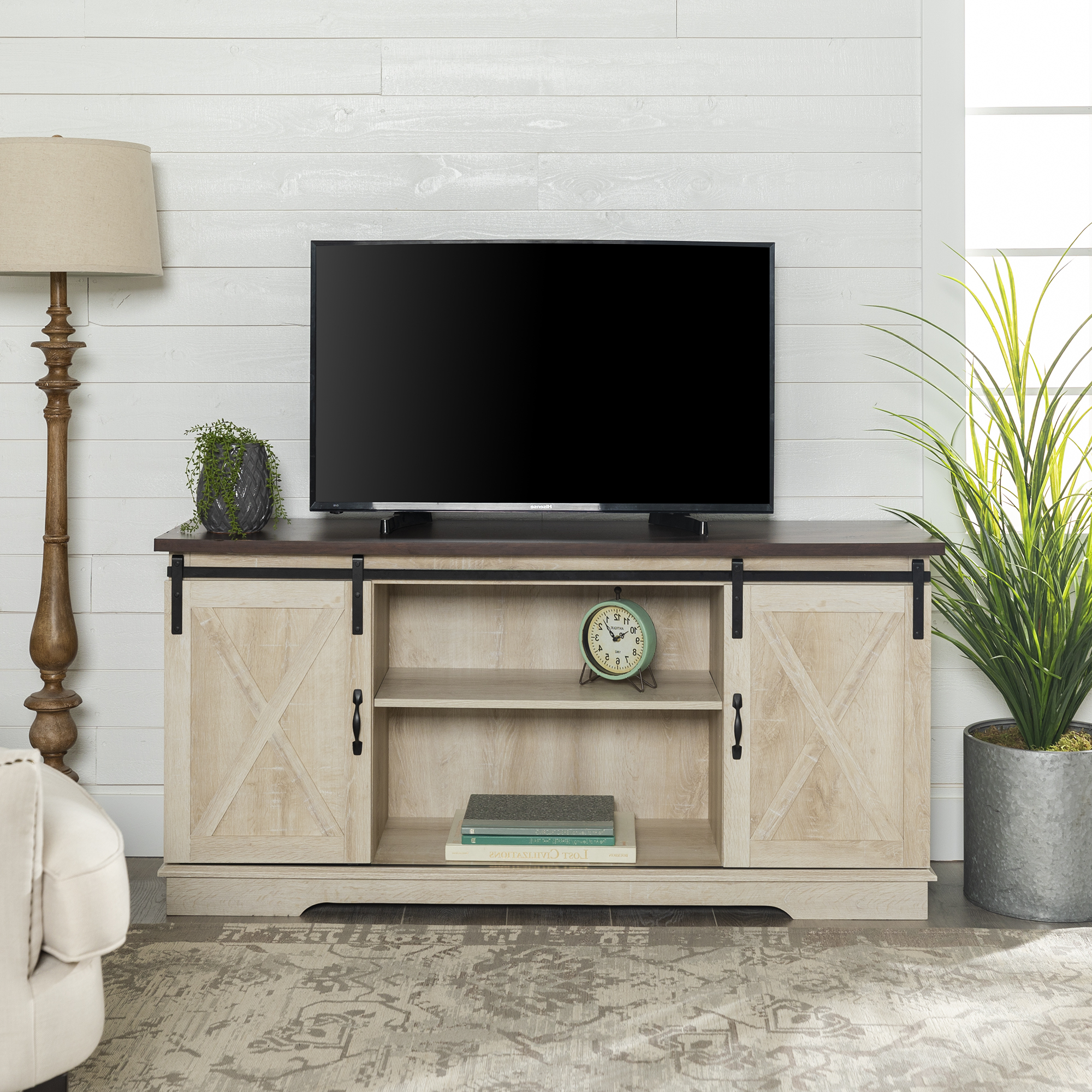 Woven Paths Farmhouse Sliding Barn Door Tv Stand For Tvs With Regard To Woven Paths Franklin Grooved Two Door Tv Stands (View 1 of 20)