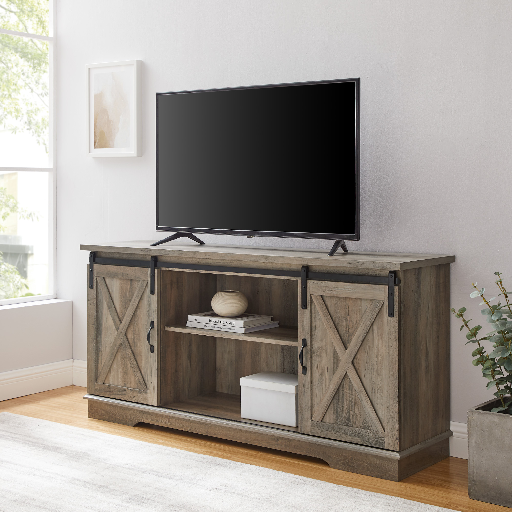 """Woven Paths Farmhouse Sliding Barn Door Tv Stand For Tvs With Stamford Tv Stands For Tvs Up To 65"""" (View 1 of 20)"""