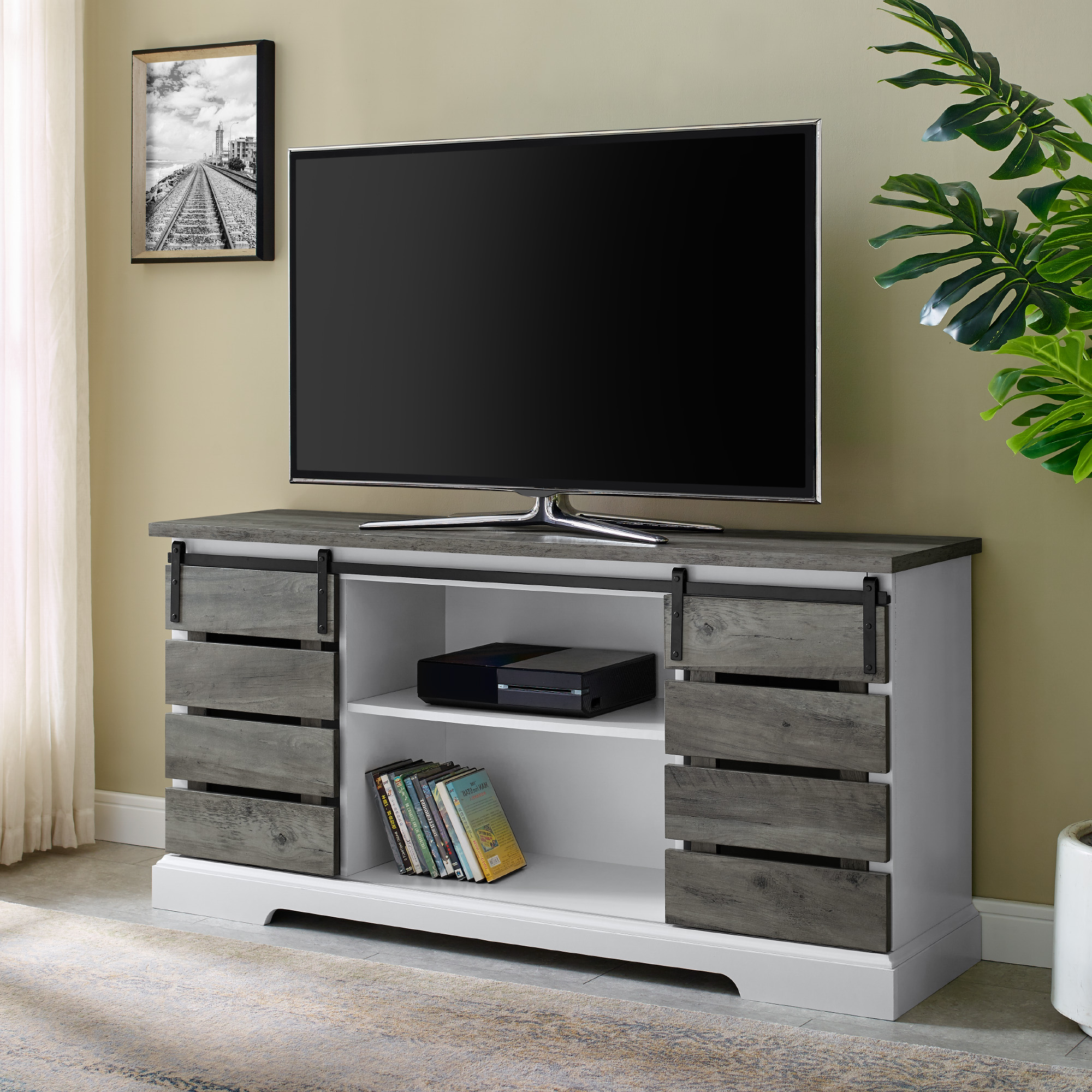 Woven Paths Farmhouse Sliding Slat Door Tv Stand For Tvs Within Woven Paths Barn Door Tv Stands In Multiple Finishes (View 2 of 20)