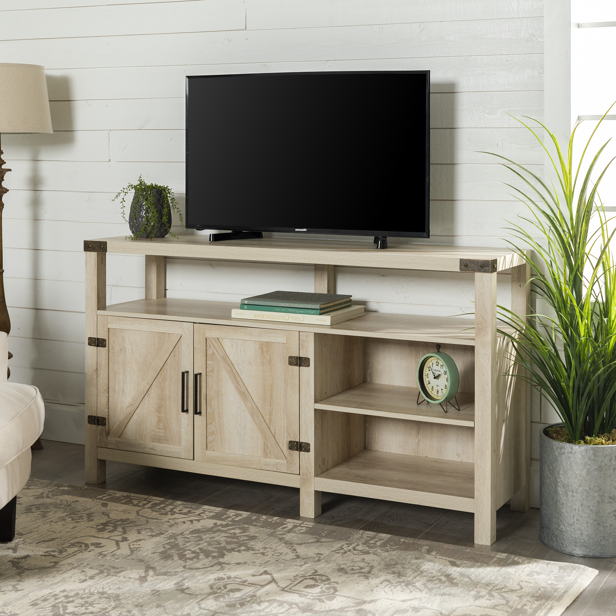"""Woven Paths Modern Farmhouse Oak Tv Stand For Tvs Up To 65 In Totally Tv Stands For Tvs Up To 65"""" (View 3 of 20)"""