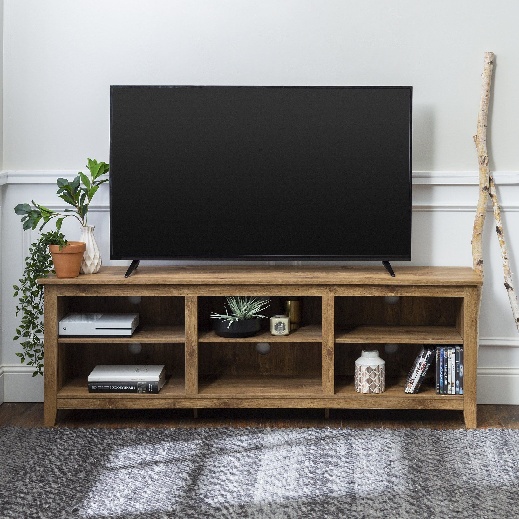 Woven Paths Open Storage Tv Stand For Tvs Up To 80 Inside Woven Paths Open Storage Tv Stands With Multiple Finishes (View 3 of 20)