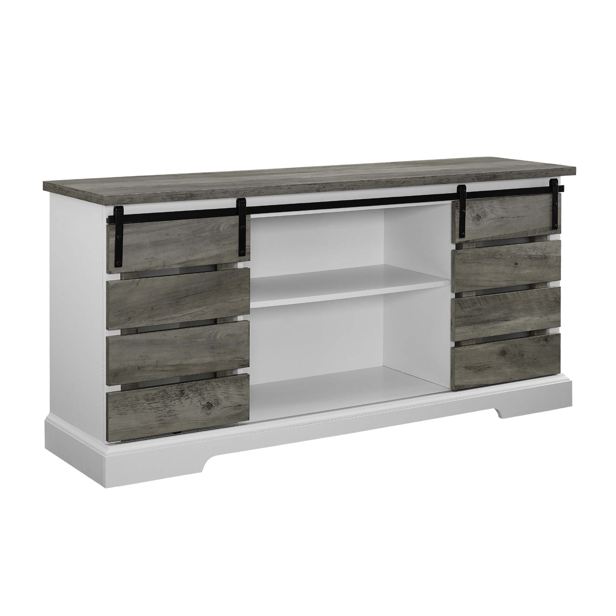 Woven Paths Sliding Slat Door Tv Stand For Tv's Up To 64 Throughout Woven Paths Farmhouse Sliding Barn Door Tv Stands With Multiple Finishes (View 1 of 14)