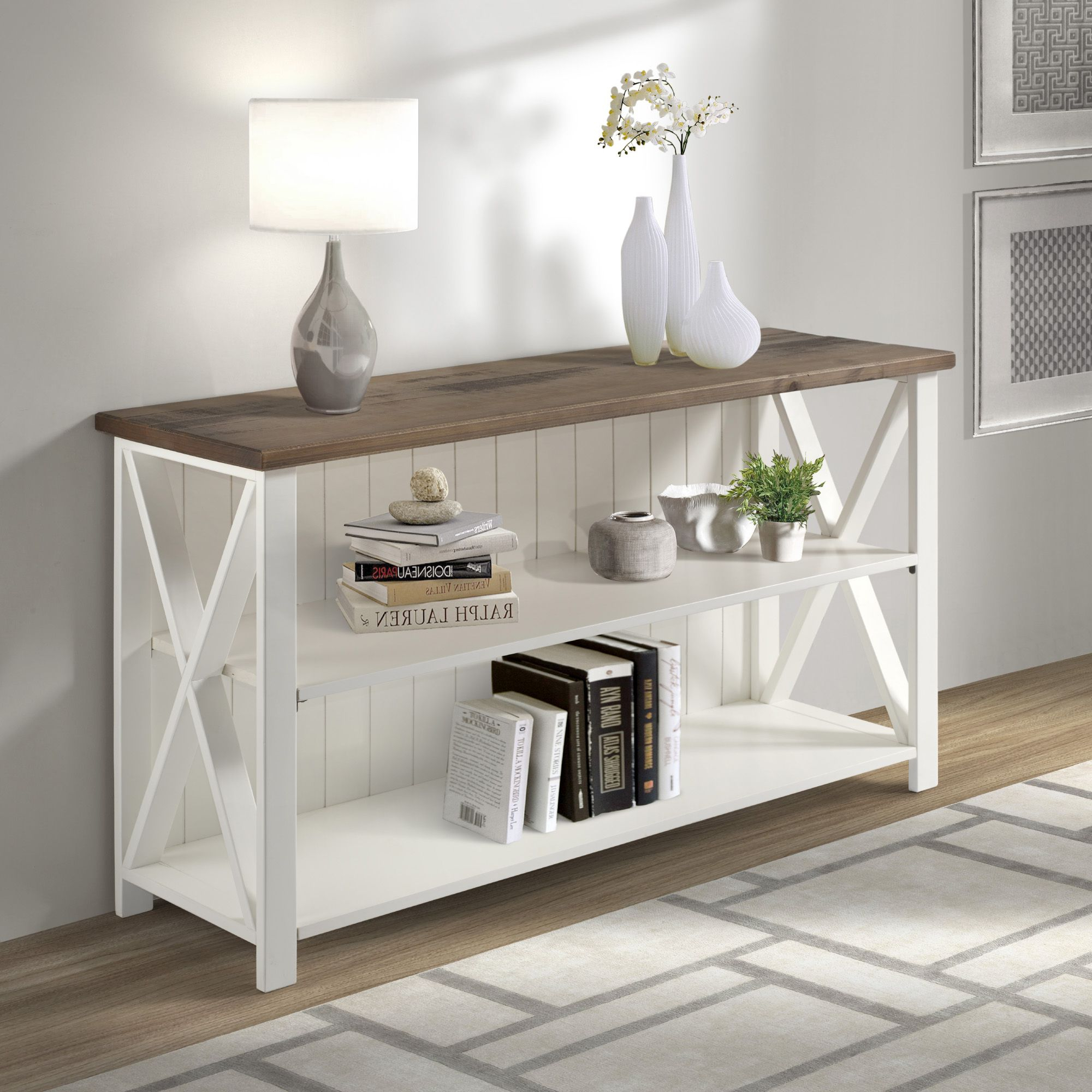 Woven Paths Solid Wood Storage Console Table, White Intended For Woven Paths Open Storage Tv Stands With Multiple Finishes (View 7 of 20)