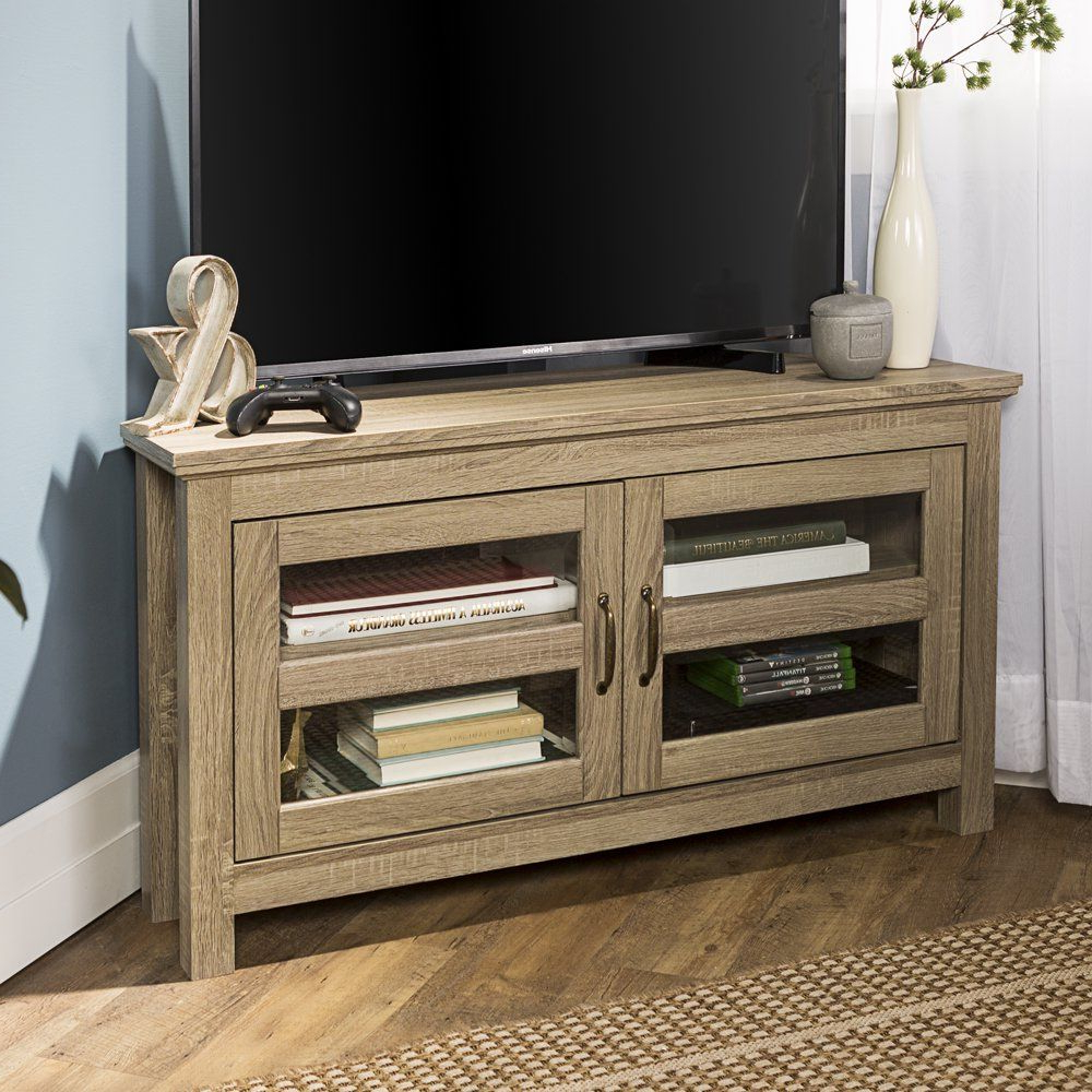 Woven Paths Wood Corner Tv Stand For Tvs Up To 48 For Woven Paths Transitional Corner Tv Stands With Multiple Finishes (View 1 of 20)