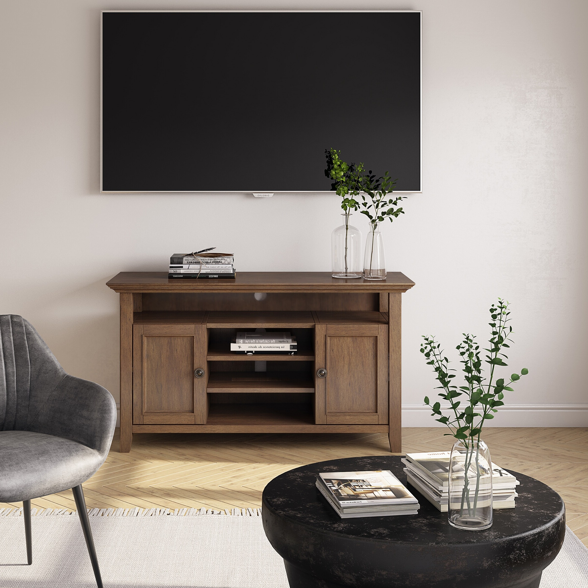 Wyndenhall Halifax Solid Wood 54 Inch Wide Transitional Tv With Regard To Bromley Extra Wide Oak Tv Stands (View 17 of 20)
