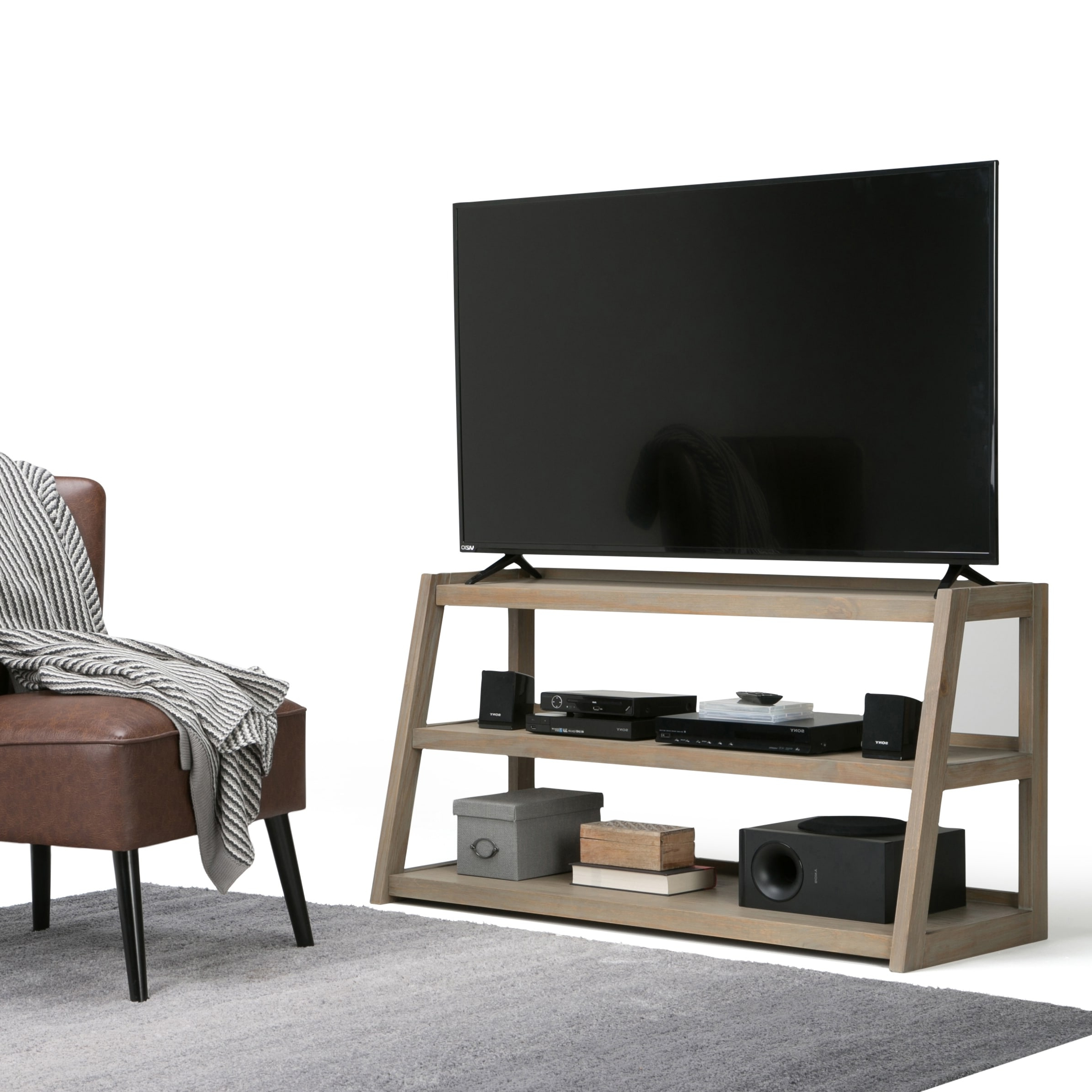 Wyndenhall Hawkins Solid Wood 48 Inch Wide Modern Inside Copen Wide Tv Stands (View 12 of 20)