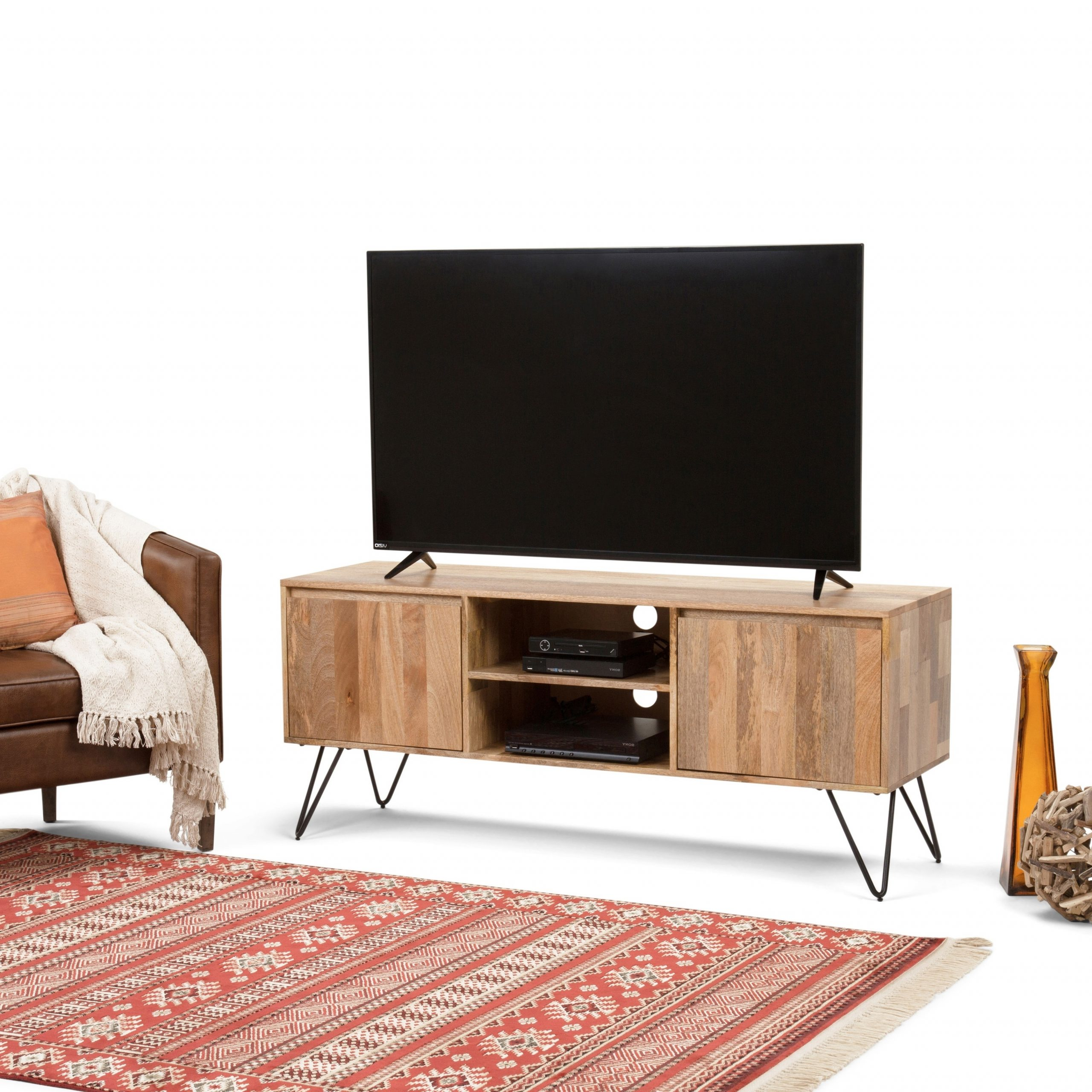 Wyndenhall Moreno Solid Mango Wood 60 Inch Wide Industrial In Greenwich Wide Tv Stands (View 16 of 20)