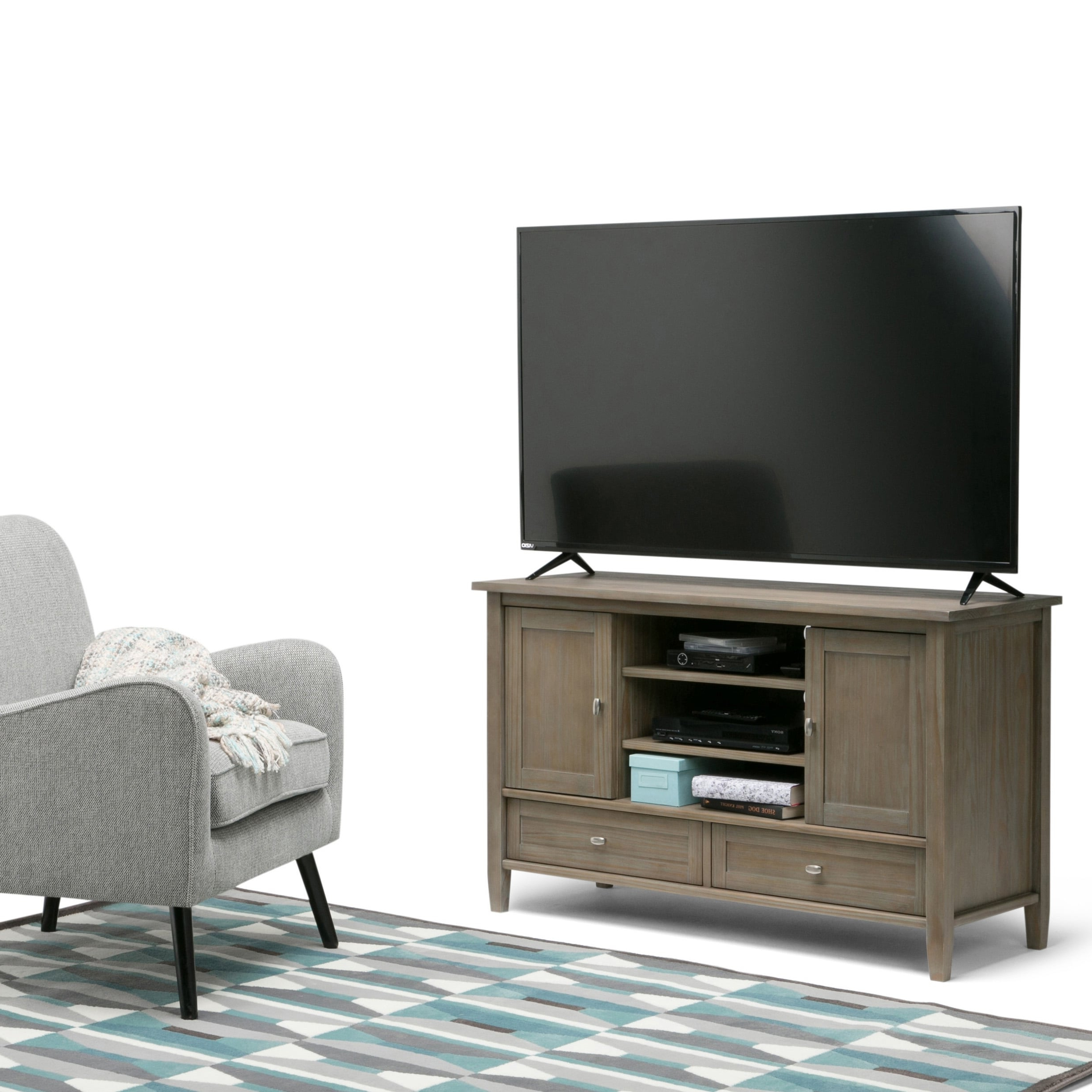 Wyndenhall Norfolk Solid Wood 47 Inch Wide Rustic Tv Media Within Jackson Wide Tv Stands (View 1 of 20)