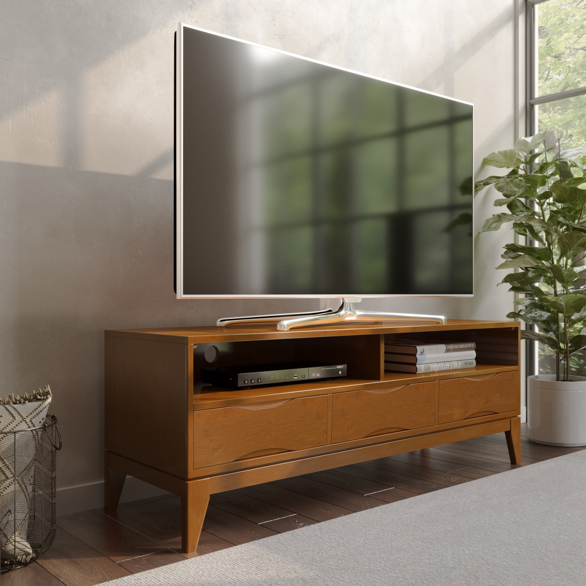 """Wyndenhall Pearson Solid Hardwood 60 Inch Wide Mid Century For Tv Mount And Tv Stands For Tvs Up To 65"""" (View 5 of 20)"""