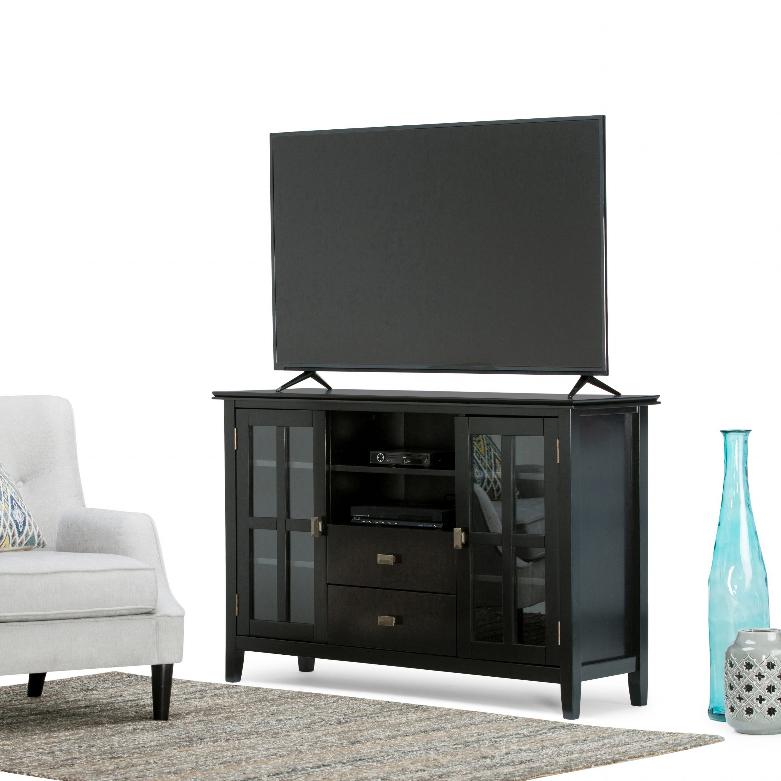 Wyndenhall Stratford Solid Wood 53 Inch Wide Contemporary Regarding Bromley Extra Wide Oak Tv Stands (View 16 of 20)