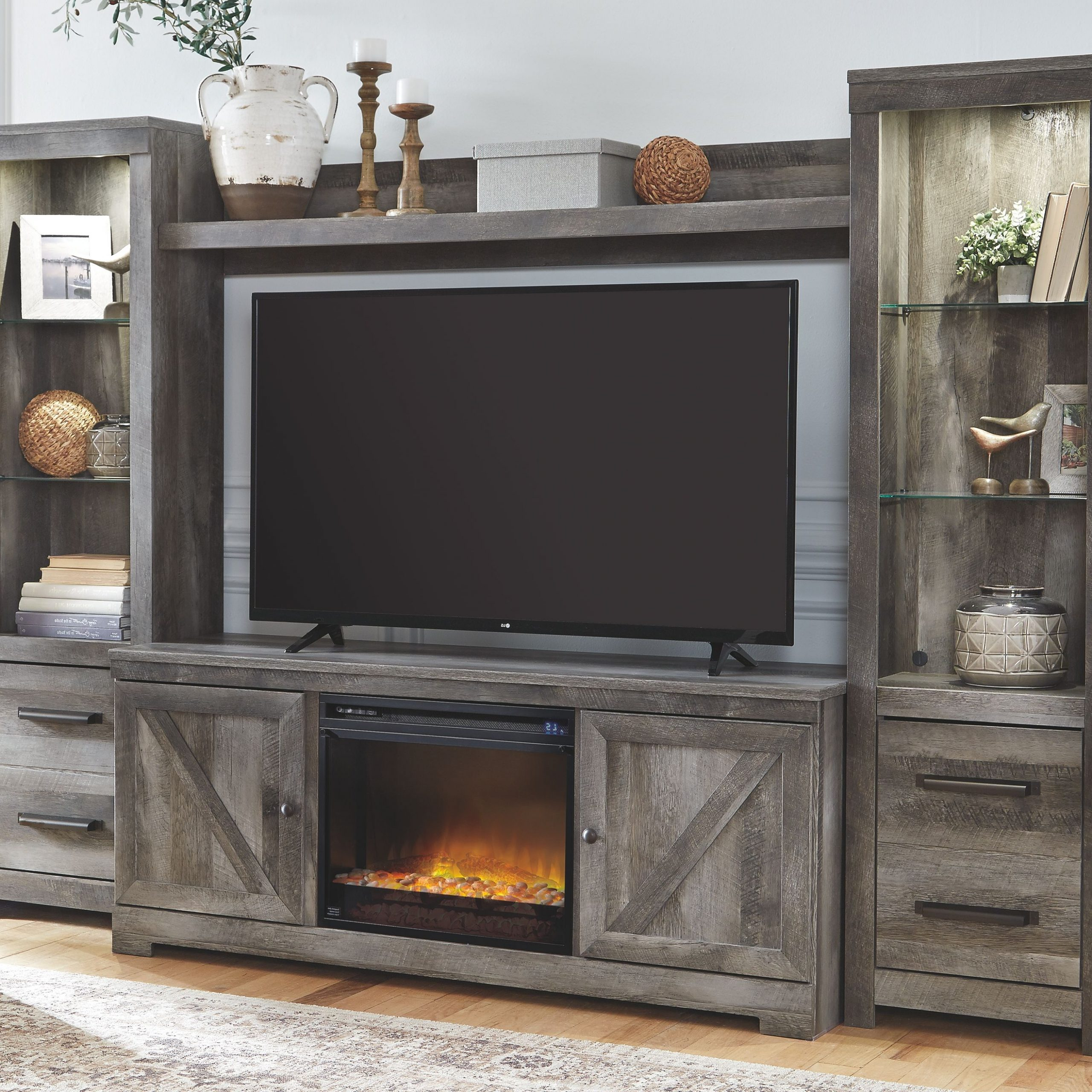Wynnlow 4 Piece Entertainment Center With Fireplace, Gray Throughout Tv Stands In Rustic Gray Wash Entertainment Center For Living Room (View 15 of 20)