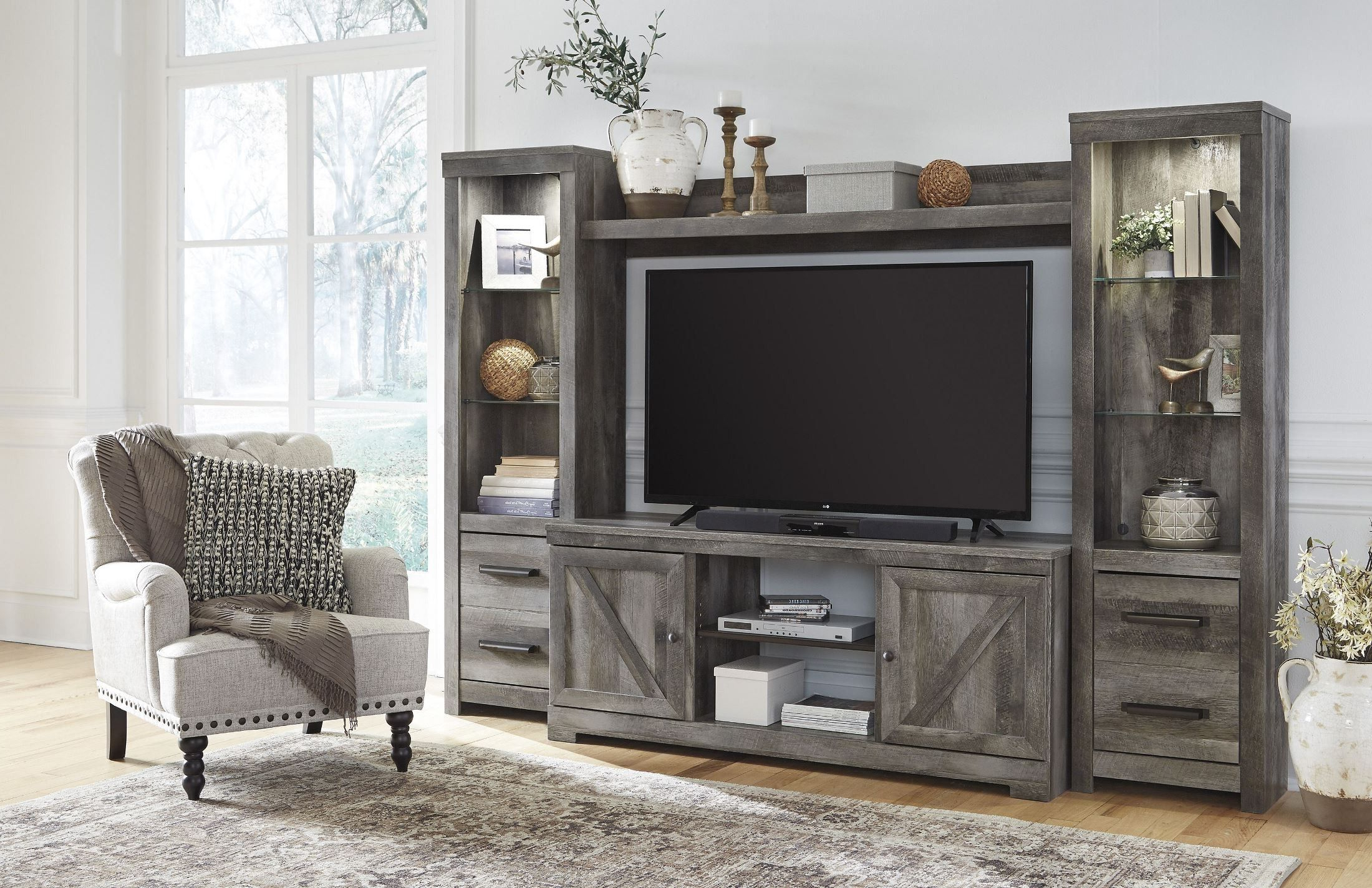 Wynnlow Gray Entertainment Wall Unit   Fireplace With Tv Stands In Rustic Gray Wash Entertainment Center For Living Room (View 12 of 20)