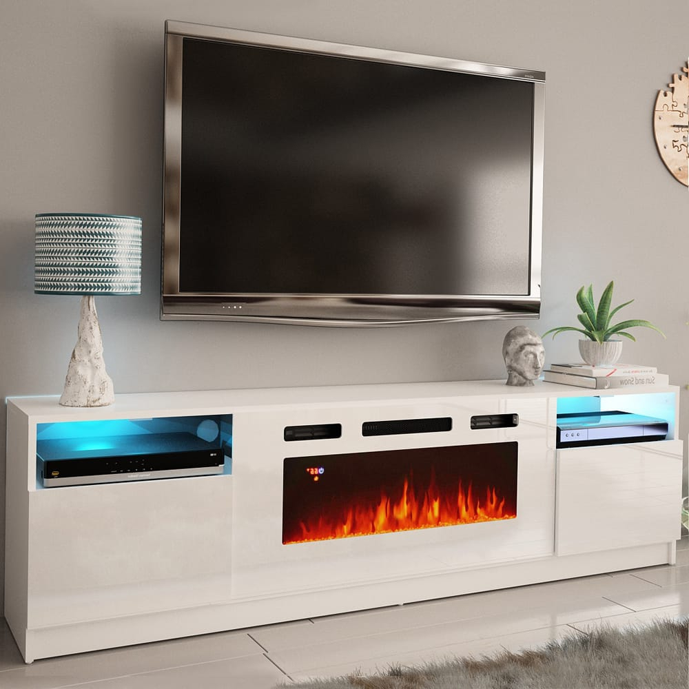 York Wh02 White Electric Fireplace Modern Wall Unit Within 57'' Tv Stands With Led Lights Modern Entertainment Center (View 17 of 20)