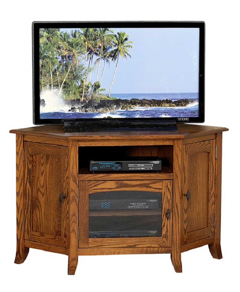 Young Mission Style #35 Corner Tv Stand – Amish Direct With Hex Corner Tv Stands (View 7 of 20)