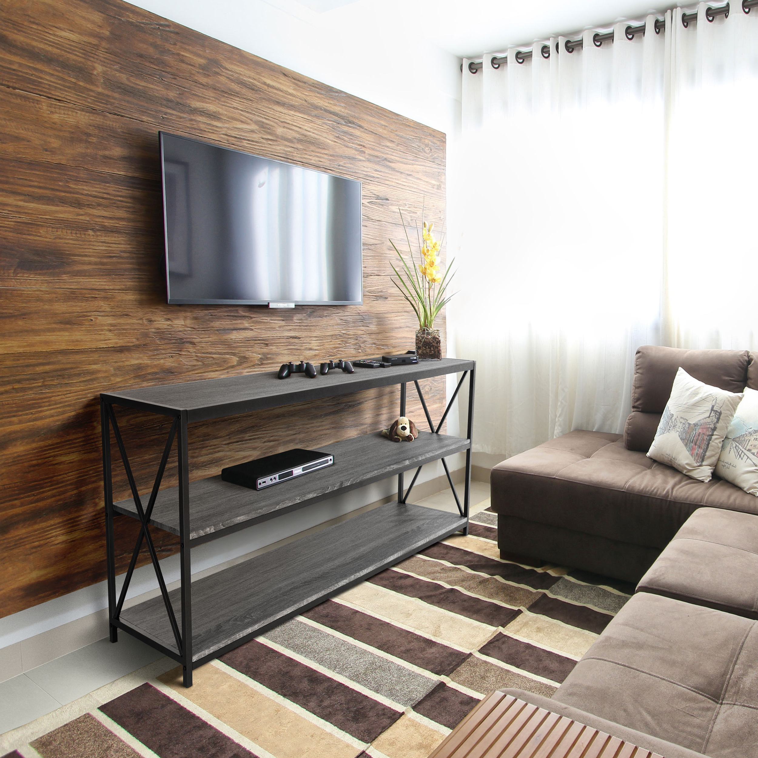 """Zenvida Universal Tv Stand For Tv's Up To 65"""" Metal Wood In Millen Tv Stands For Tvs Up To 60"""" (View 13 of 20)"""