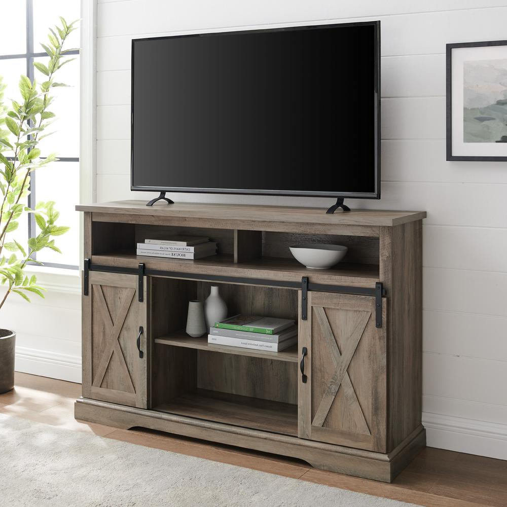 """52"""" Modern Farmhouse High Boy Wood Tv Stand With Sliding For Better Homes & Gardens Modern Farmhouse Tv Stands With Multiple Finishes (View 11 of 31)"""