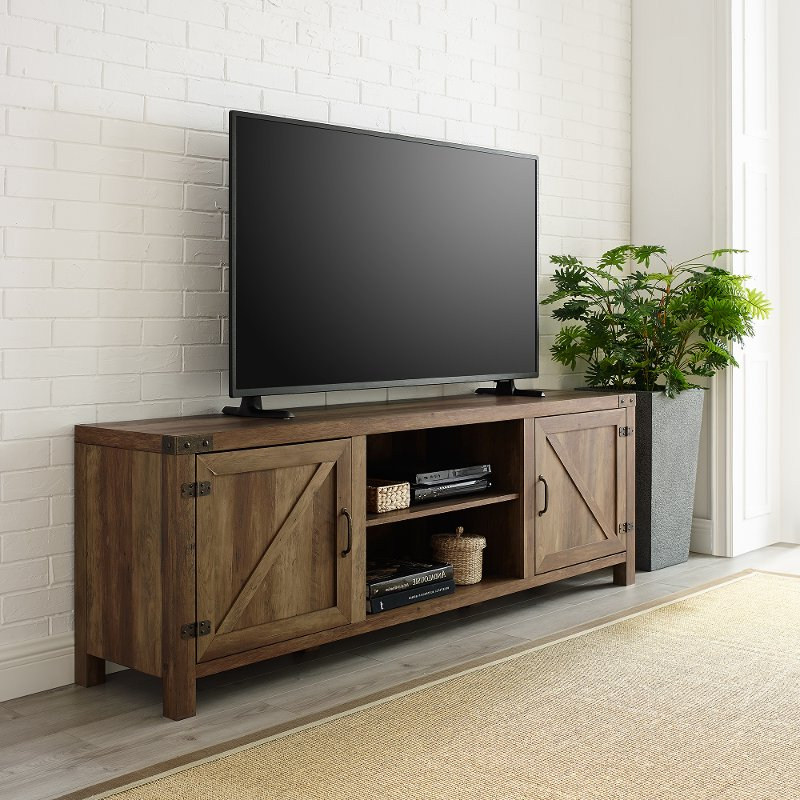 70 Inch Modern Farmhouse Tv Stand – Rustic Oak | Rc Willey Pertaining To Better Homes & Gardens Modern Farmhouse Tv Stands With Multiple Finishes (View 8 of 31)