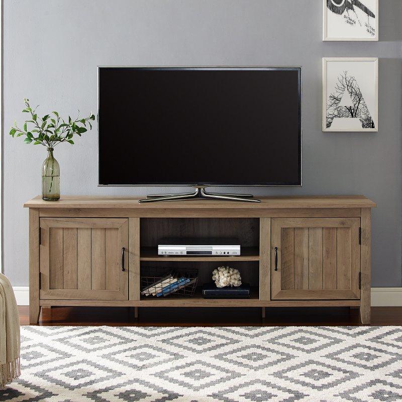 70 Inch Modern Farmhouse Wood Tv Stand – Rustic Oak | Rc With Regard To Modern Farmhouse Tv Stands (View 12 of 31)