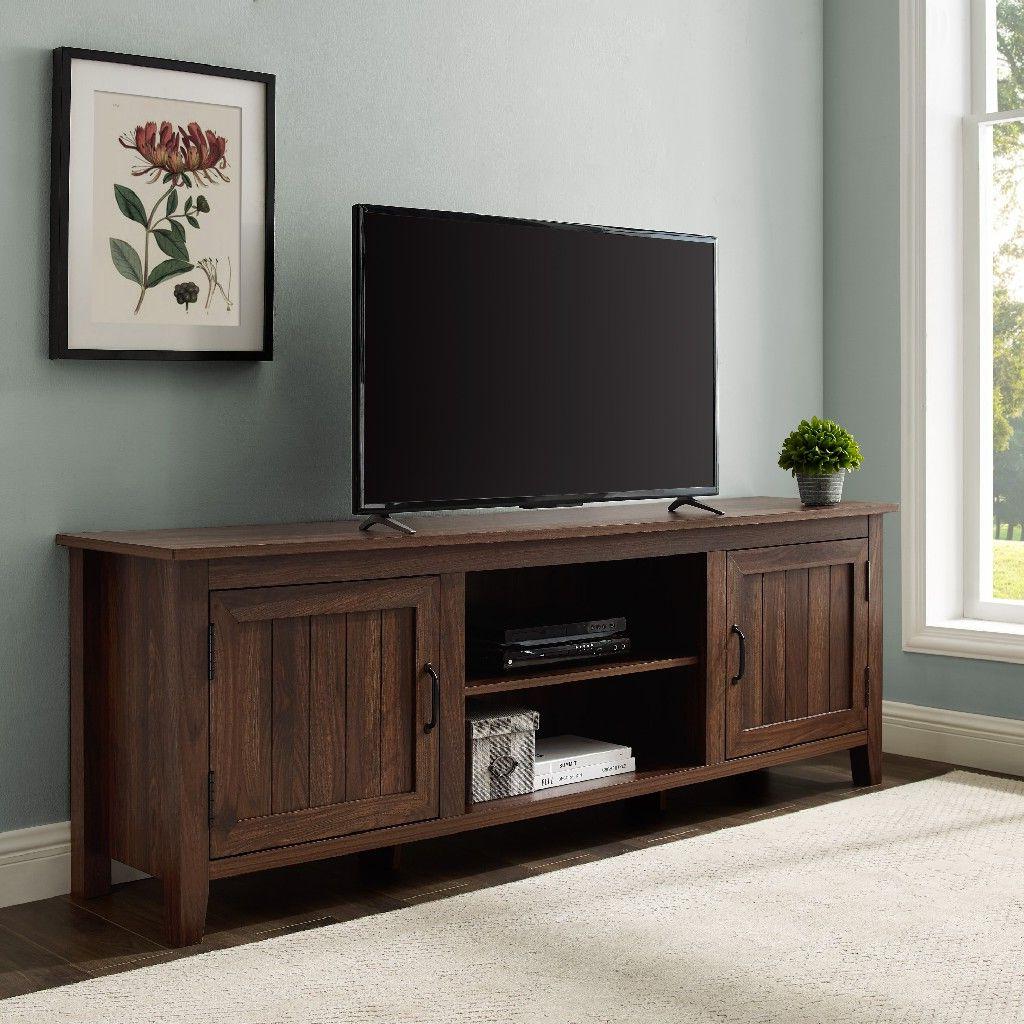 "70"" Modern Farmhouse Wood Tv Stand In Dark Walnut – Walker Pertaining To Modern Farmhouse Tv Stands (View 7 of 31)"