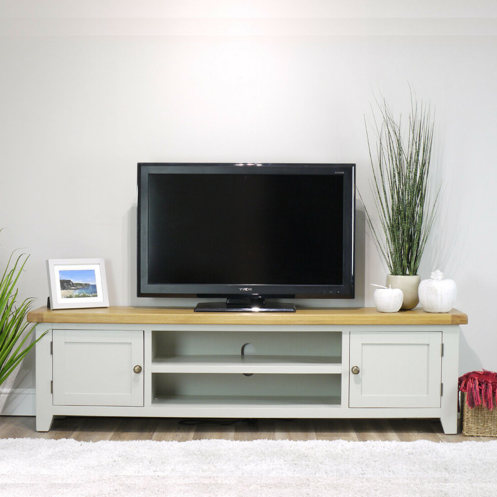Arklow Painted Oak Extra Large Tv Stand / 180cm Grey Solid Pertaining To Delta Large Tv Stands (View 11 of 15)