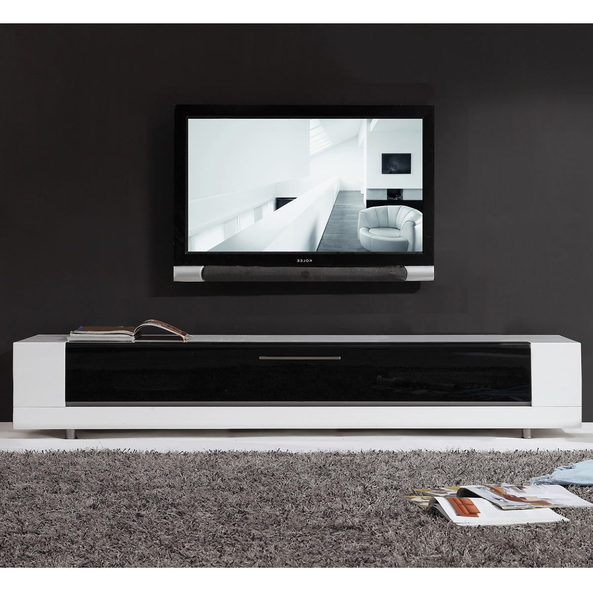 """B Modern Bm 632 Wht Editor Remix 79"""" Contemporary Tv Stand Pertaining To Miami 200 Modern 79"""" Tv Stands High Gloss Front (View 10 of 17)"""
