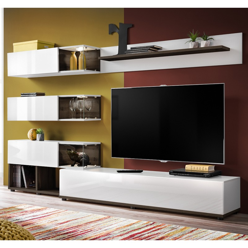 Bmf Silk Ii Wall Unit 240cm Wide Tv Stand Shelves Cabinets With Regard To Square Tv Stands (View 18 of 20)