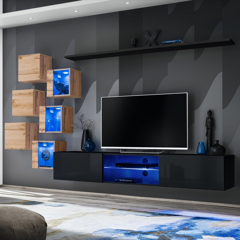 Bmf Switch Xxi Wall Unit Tv Stand Shelf Three Display With Regard To Square Tv Stands (View 15 of 20)