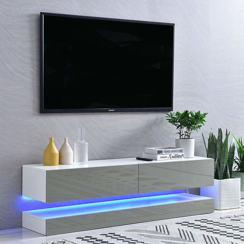 """Cherry Tree Furniture Meldal Led High Gloss Tv Stand, Tv Regarding Miami 200 Modern 79"""" Tv Stands High Gloss Front (View 2 of 17)"""