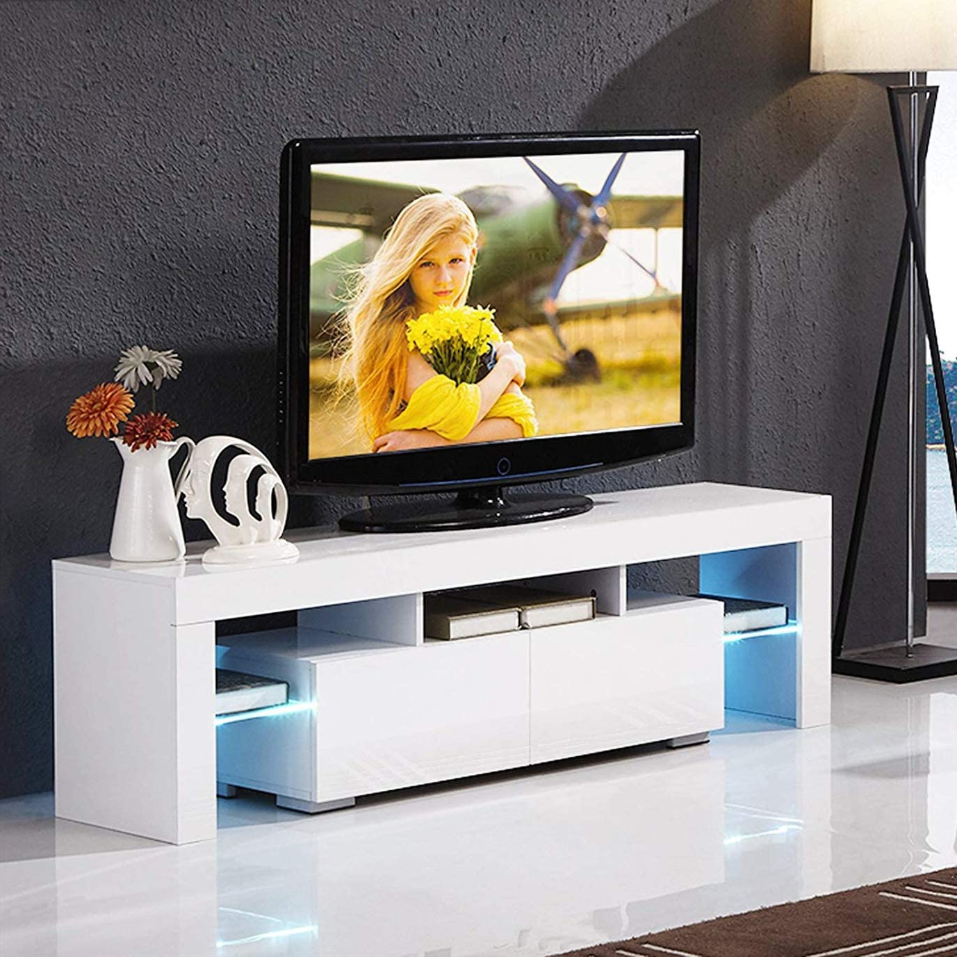 Corner Tv Console Table, Modern White Tv Stand With High Regarding Tv Stands High Gloss Front (View 15 of 17)